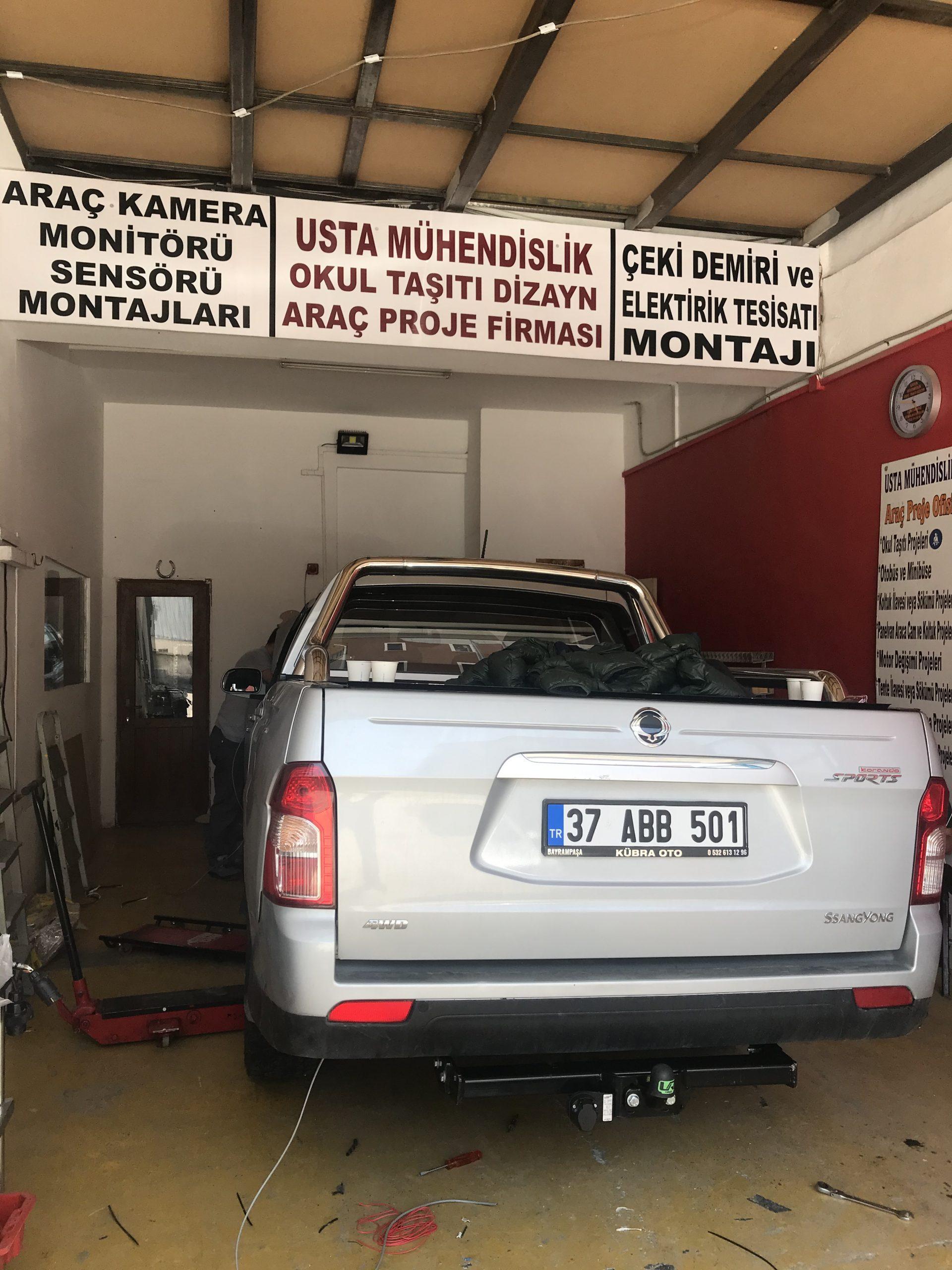 SSANYONG KAMYONET araçlara çeki demiri takma montajı ve araç proje firması ANKARA USTA MÜHENDİSLİK 05323118894